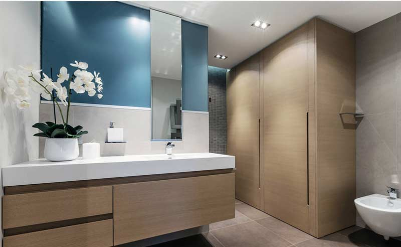 wooden deisgner vanity and bathroom wardrobe in gurgaon