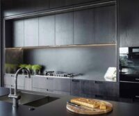 beautiful modular kitchen in black colour by design indian kitchen