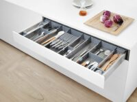 blum motion cutlery tray on a seamless openable handless kitchen in gurgaon & Delhi