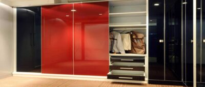 lacquer glass wardrobe in red colour by the design indian wardrobe company