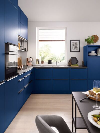 dark blue beautiful modular kitchen with blum intivo drawers and pantry unit in gurgaon