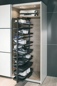 revolving shoe racks are integral part of wardrobes and is provided by hafele and hettich