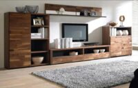 pure wooden veneered tv unit made by the design indian kitchen team in gurgaon