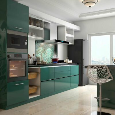 dark green modular kitchen designs with hafele nagold inbuilts