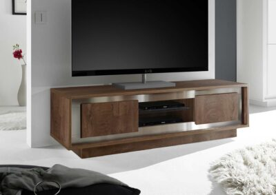 designer wooden tv unit cabinet box with silver laminates and steel grey backpanel in gurgaon and delhi