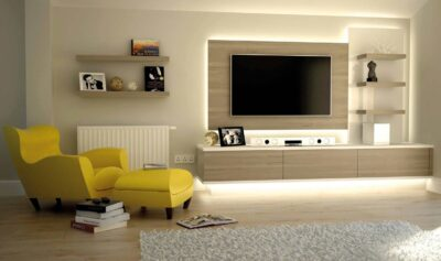a back light oak tv unit with acrylic panel
