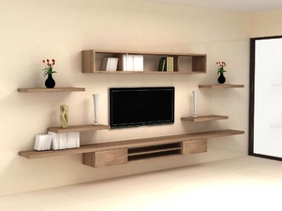 a free standing tv unit with angular titanic fittings installed for shelves and cabinets