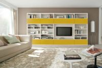a tv unit with lot of storage shelves and drawers, carefully selected colour combination