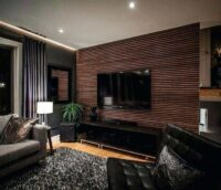 wood panelling on tv unit back side wall and base cabinets by design indian kitchen in gurgaon and delhi