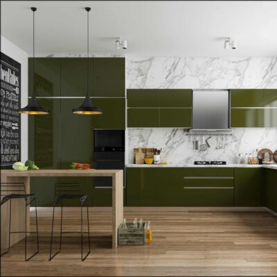 dark green modular kitchen with blum hafele fittings and accessories in gurgaon and delhi