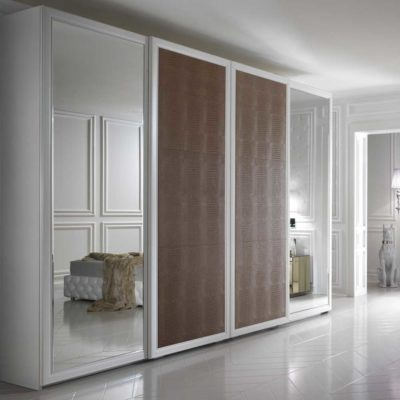 designer leather finish wardrobes with bevelled glass in gurgaon and delhi