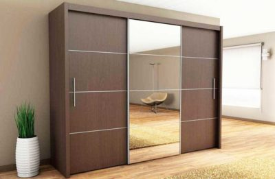 designer wardrobe with mirror glass in middle and both sides sliding