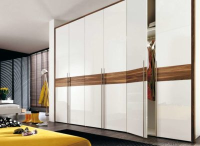 wardrobes in acrylics with long handles and middle grey strip made by the design indian wardrobe in gurgaon and delhi