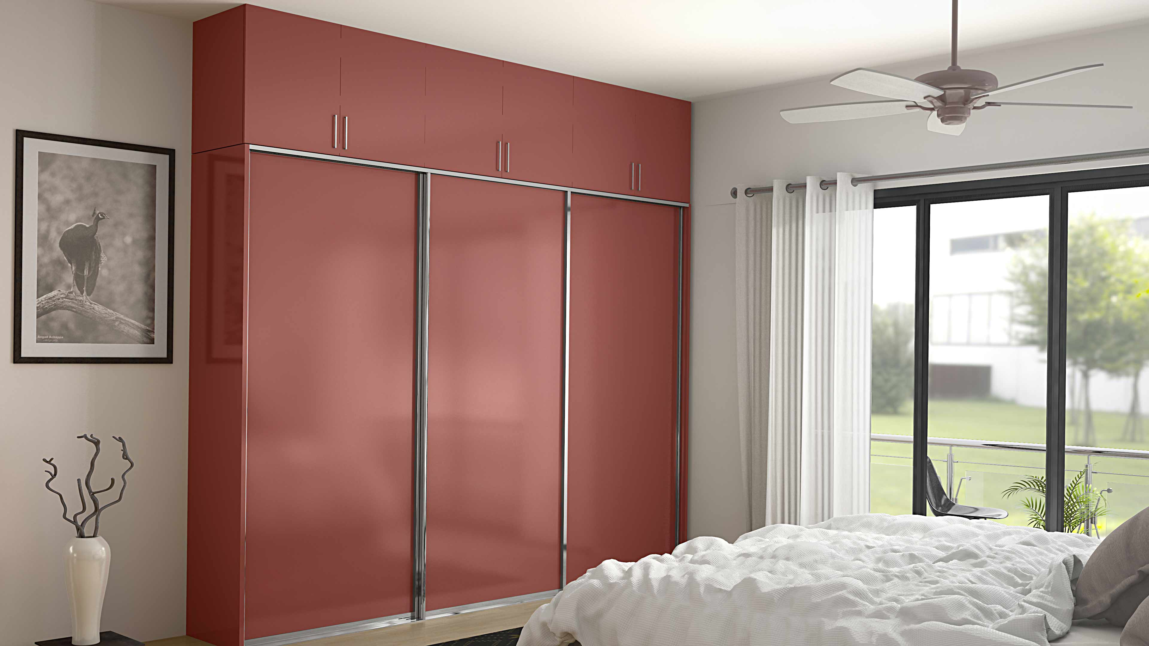 red lacquer glass wardrobes in gurgaon