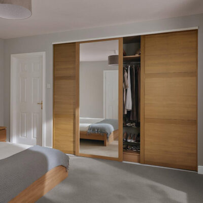 single door sliding wardrobe with mirrored shutter by the design indian wardrobe company