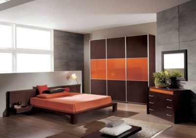 orange lacquer glass and maroon acrylic wardrobe in gurgaon and delhi by our brand
