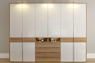pure white hinged wardrobe with inbuilt lights in gurgaon