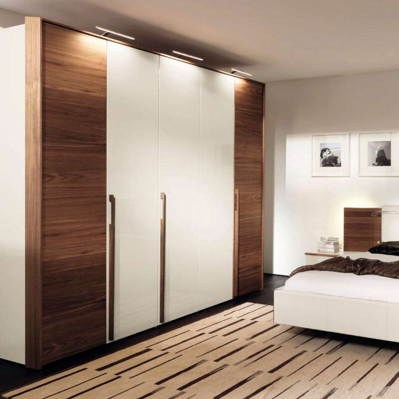wooden framed wardrobe with inbuilt lights in gurgaon