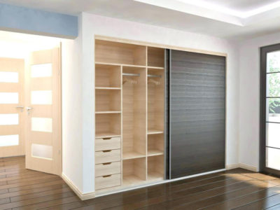 beautiful storage planned in a sliding wardrobe in gurgaon by design indian wardrobe