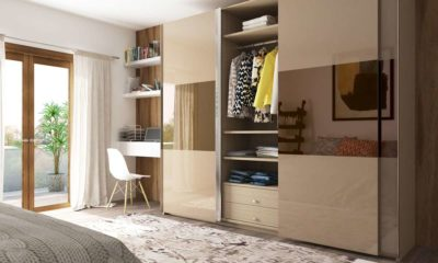 wardrobe designs and wardrobes made in lacquer glass in gurgaon by design indian kitchen company