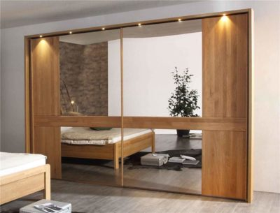 glass wardrobe with veneered polished shutters and inbuilt lights in gurgaon and delhi