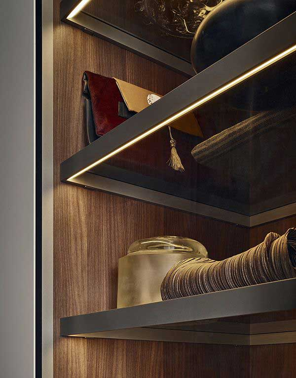 wardrobe under shelves lights by design indian wardrobe company in gurgaon