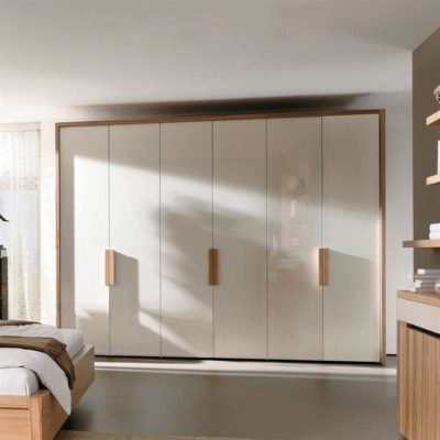 pure white wardrobes with wooden polished handles and wood frame made in acrylics by the design indian wardrobe