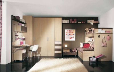 interiors of kitchen bedroom with wardrobes and study table and a bunk bed by design indian kitchen company in gurgaon and delhi