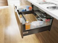 intivo drawer system by blum with frosted glass on sides