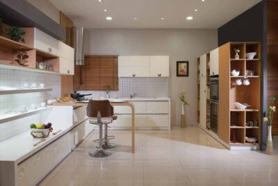 designer modular kitchen with lot of storage and in designer acrylics