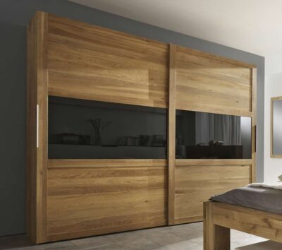 designer wooden sliding wardrobes with lacquer glass in the middle by the design indian wardrobe